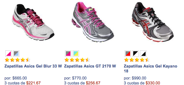 asics outlet chile