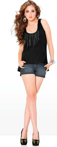 Andrea short denim blusa negra