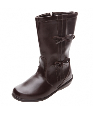 botas chocolate niña moños Hush Puppies