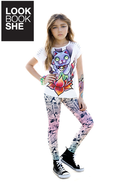 Ona Saez Kids leggins multicolor camiseta print