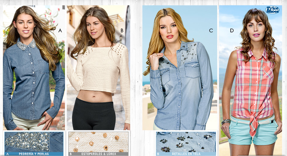 ropa Price Shoes 2014 dama estoperoles blusas tops denim